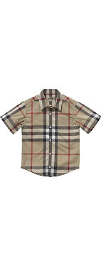 BURBERRY Check short-sleeve shirt 4-14 years