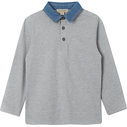 BURBERRY Denim collar polo shirt 4-14 years (Grey