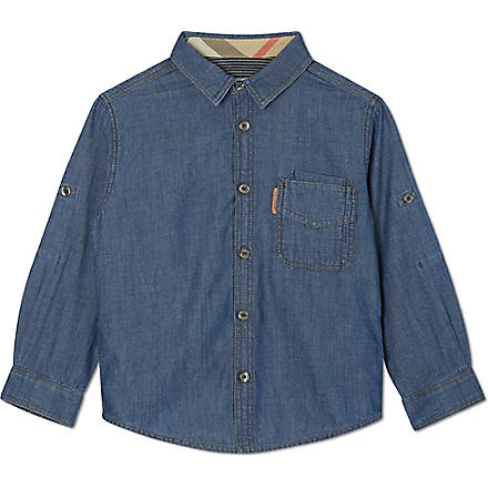 BURBERRY Buttoned denim shirt 4-14 years (Blue