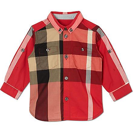 BURBERRY Poplin checked shirt 4-14 years (Red