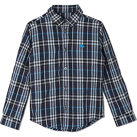 BURBERRY Checked long sleeved shirt 4-14 years (Blue