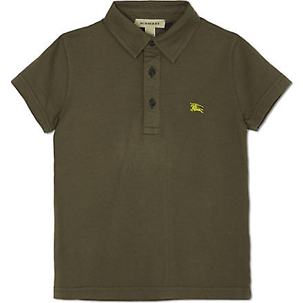 BURBERRY Cotton short-sleeved polo shirt 4-14 years (Khaki