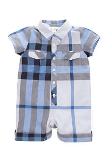 BURBERRY Checked short all-in-one 1-9 months