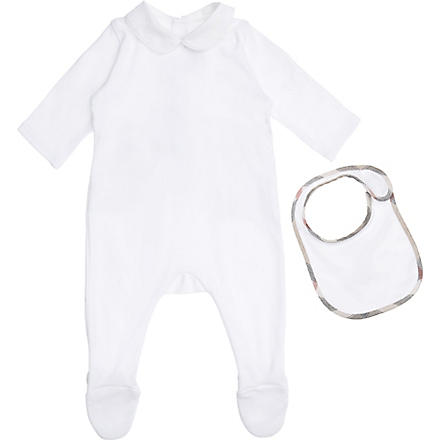 BURBERRY Baby-grow and bib set 1-9 months (White