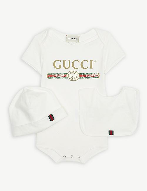 GUCCI Vintage logo cotton bodysuit gift set 0-12 months 26fbac2e8bebf