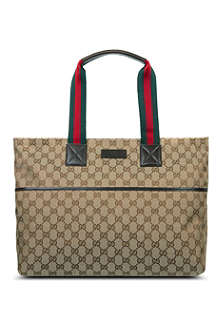 GUCCI Striped handle diaper bag