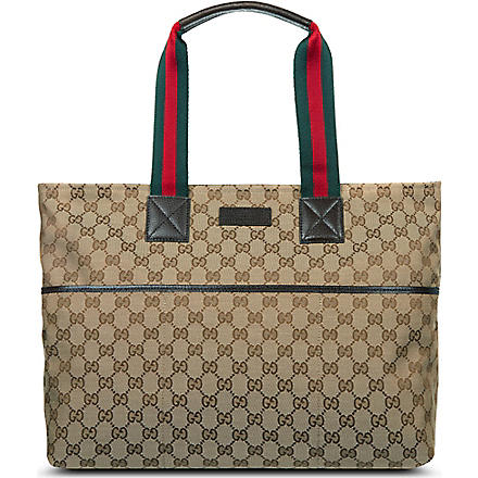 GUCCI Striped handle diaper bag (Beige/cream