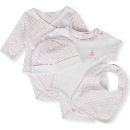 GUCCI Four-piece logo gift set 0-12 months (Pink