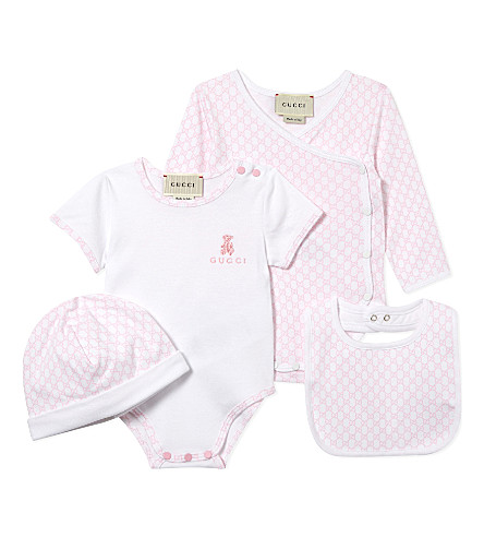 GUCCI Baby cotton gift set 0-12 months (Opt.white/baby+pink