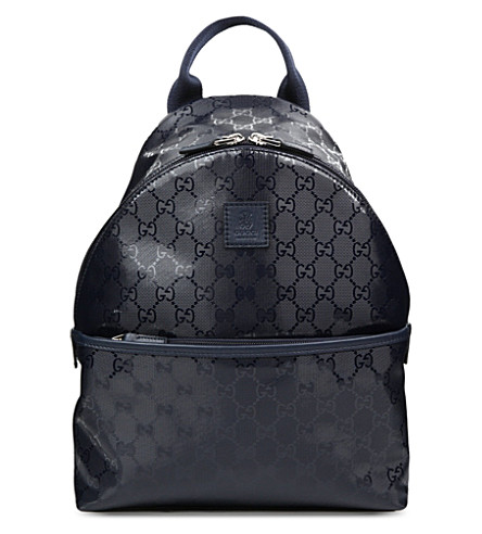 GUCCI Logo-embossed backpack (Blue