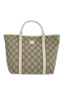 GUCCI Classic leather trim tote