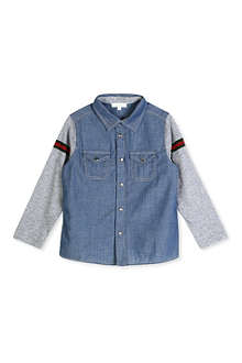 GUCCI Contrast-sleeve chambray shirt 12-36 months