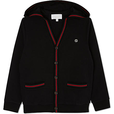 GUCCI Striped-trim hoody 4-12 years (Black