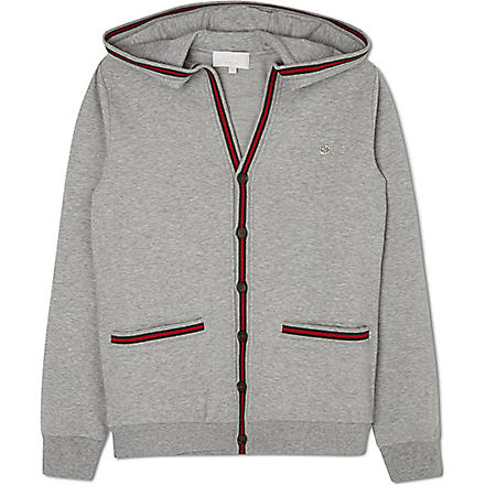 GUCCI Striped-trim hoody 4-12 years (Grey