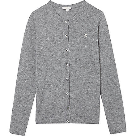 GUCCI Badge cashmere cardigan 4-12 years (Grey