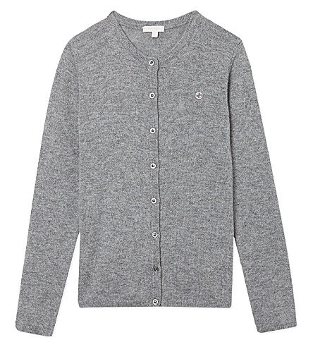 GUCCI Badge cashmere cardigan 4-12 years (Grey
