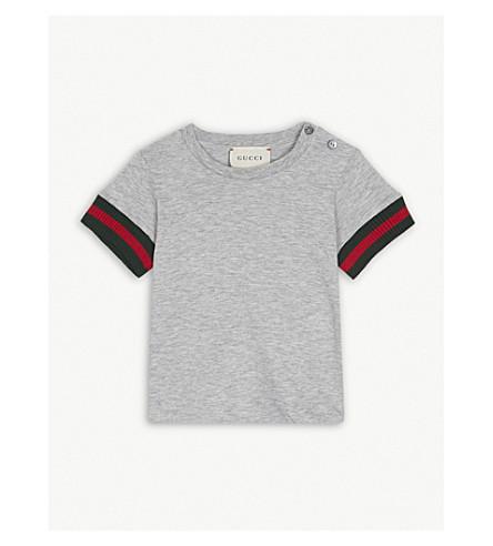GUCCI 网条纹棉 t-shirt 6-36 月 (灰色