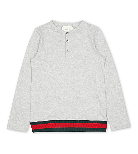 GUCCI Classic stretch-cotton top 4-12 years (Grey