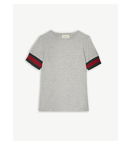 GUCCI Web stripe cotton T-shirt 4-12 years (Light+grey
