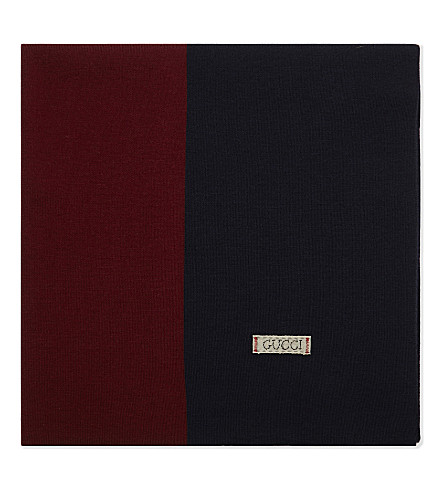 GUCCI Block colour wool blanket (Navy/red