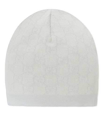 GUCCI Gg signature wool hat (Ivory/sky+blue