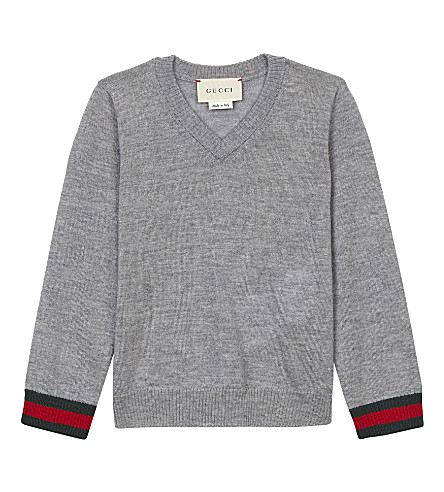 GUCCI Classic v-neck wool sweater 6-36 months (Grey