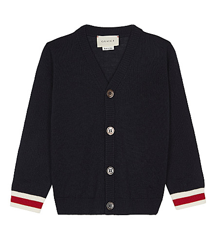 GUCCI Web trim wool cardigan 6-36 months (Navy