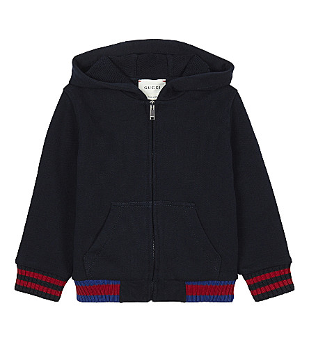 GUCCI Web cuff zip front cotton hoody 6-36 months (Navy