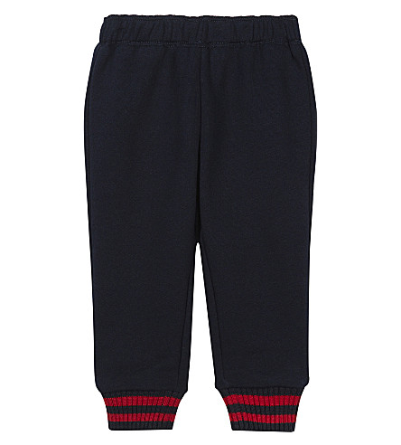 GUCCI Web cuff cotton jogging bottoms 6-36 months (Navy
