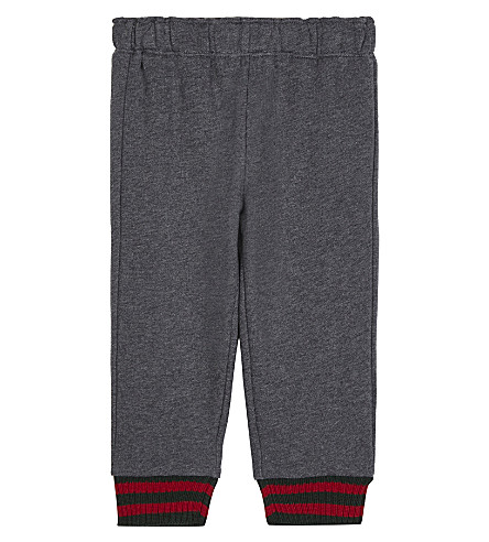 GUCCI Web trim cotton jogging bottoms 6-36 months (Grey