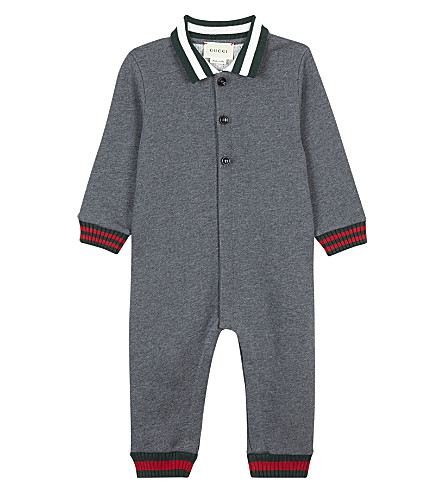 GUCCI Web stripe cotton baby-grow 0-12 months (Grey