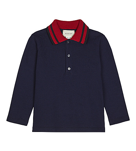 GUCCI Long-sleeve knit collar polo shirt 6-36 months (Navy