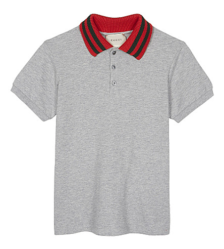 GUCCI Web stripe cotton polo 4-12 years (Grey