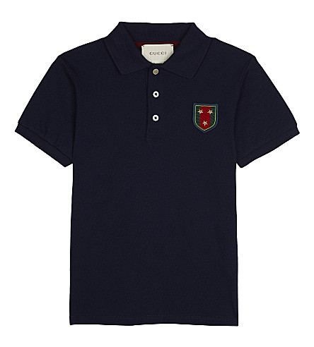 GUCCI Crest cotton polo shirt 4-12 years (Navy