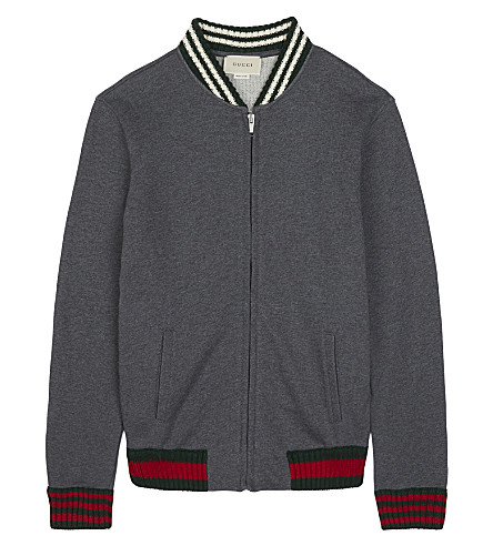GUCCI Web stripe zipped jacket 4-12 years (Grey