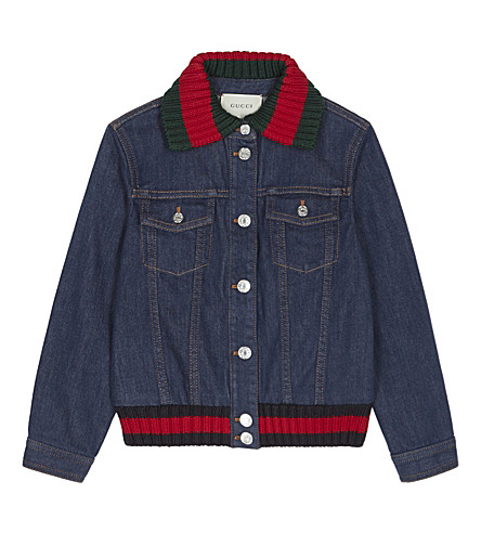 GUCCI Web trim denim jacket 6-12 years (Blue