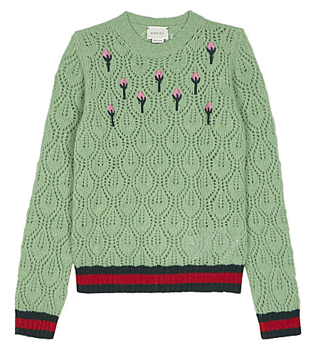 GUCCI Floral pointelle wool-blend jumper 4-12 years (Green