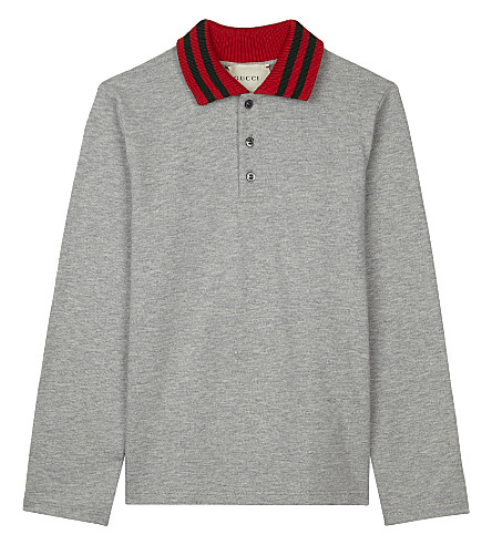 GUCCI Knitted collar cotton polo shirt 4-12 years (Grey