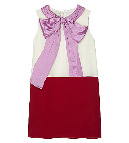 GUCCI Oversized bow silk dress 4-12 years (Pearl/red/candy