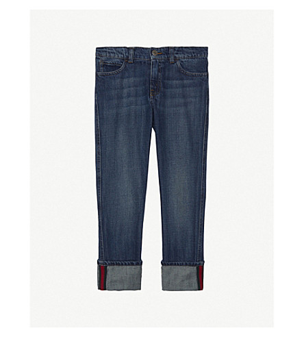 GUCCI Web stripe denim jeans 4-12 years (Orbit