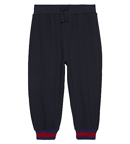 GUCCI Web cuff cotton tracksuit bottoms 6-36 months (Ink/cobalt/red
