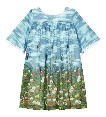 GUCCI Flower meadow cotton dress 4-12 years (Cyan