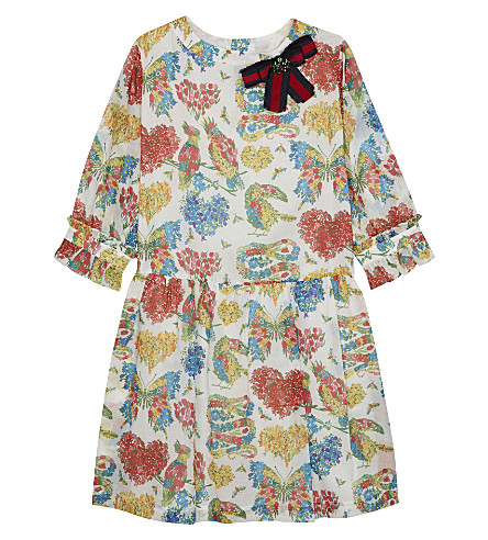 GUCCI Flower print cotton dress 4-12 years (Raspberry+juice+pr