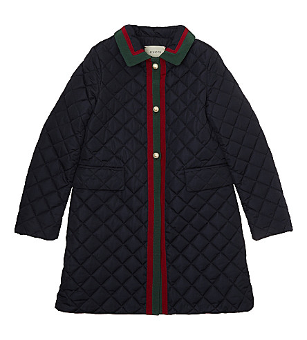 GUCCI Quilted pearl coat 6-12 years (Navy
