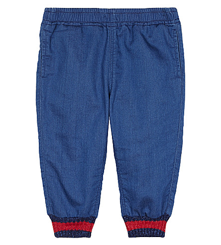 GUCCI Web stripe denim jogging bottoms 6-36 months (Blue