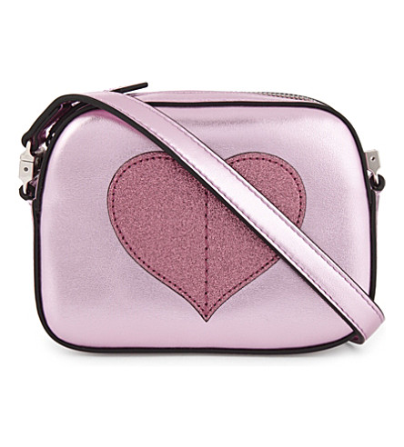 GUCCI Glitter heart leather cross-body bag (Rosa