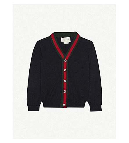 GUCCI Web stripe cardigan 6-36 months (Navy