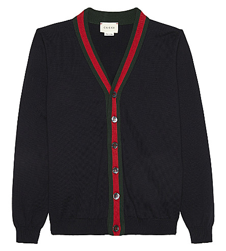 GUCCI Web stripe cotton cardigan 4-12 years (Navy