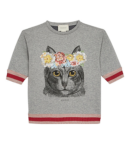 GUCCI Flower cat jumper 4-12 years (Light+grey