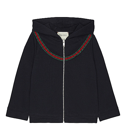 GUCCI Web frill cotton hoody 6-36 months (Ink